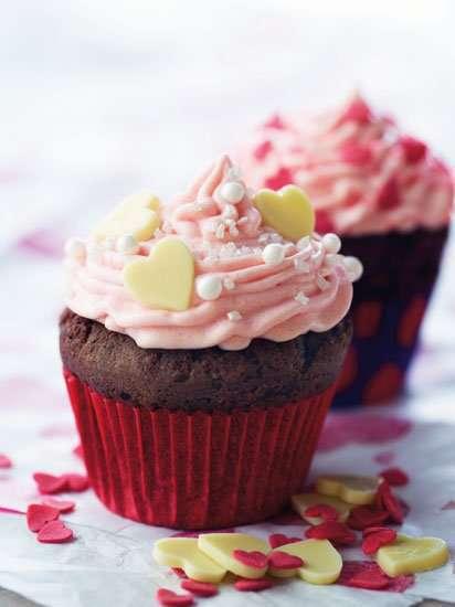Valentines hjertecupcakes oppskrift.