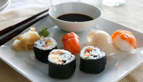 Bilde av Marit Bj�rgens sushi.
