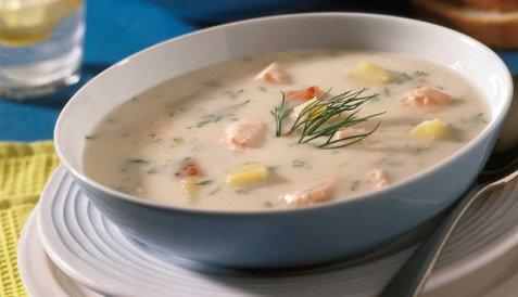 Suppe med laks oppskrift.