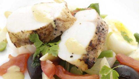 Salat med stekt breiflabb oppskrift.