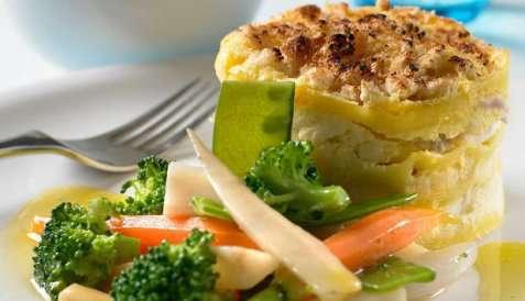 Lasagne med torsk og grønnsaker oppskrift.