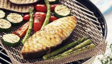 Kveite med grillede grønnsaker oppskrift.