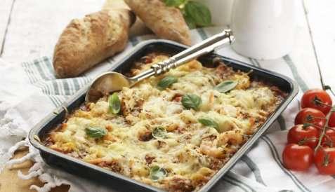 Lasagne med sei og reker oppskrift.