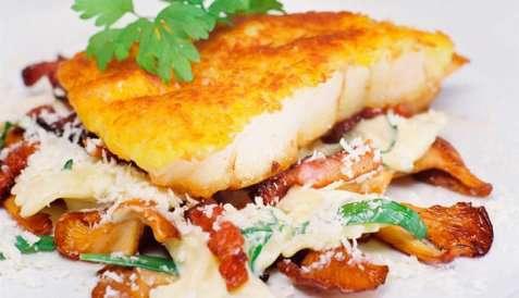 Bilde av Kremet pasta med panert isgalt.