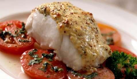 Ovnsbakt torsk med tomatsalat oppskrift.