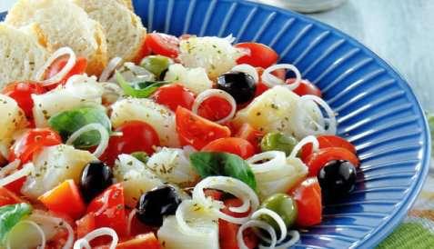 Salat med tørrfisk oppskrift.