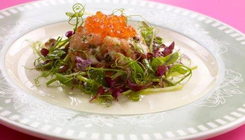 Tartar - ørret og østers oppskrift.