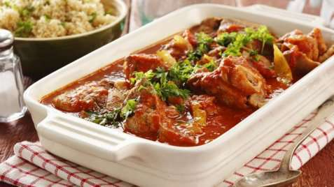 Bilde av Lammebog med safran, sitron og tomater.