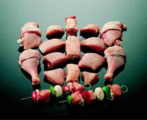 Grillspyd med kylling og grønnsaker oppskrift.