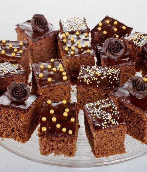 Sjokoladeruter med kakaoroser oppskrift.