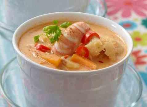 Suppe med sjøkreps, torsk og kveite oppskrift.