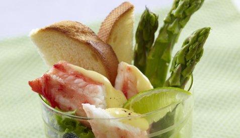 Kongekrabbe med asparges og sitronhollandaise oppskrift.