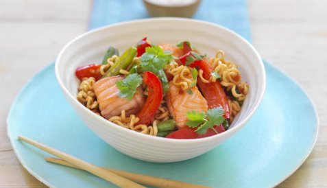 Sweet chili wok med laks oppskrift.