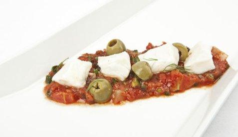 Ceviche av sei med salsa oppskrift.