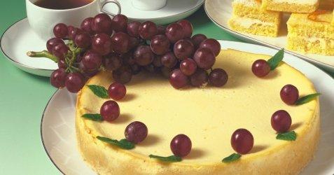 Amerikansk ostekake med druer oppskrift.