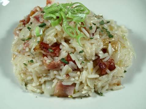 Bacon risotto oppskrift.