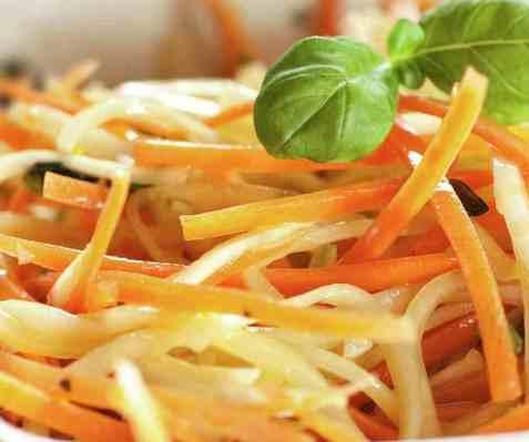 Squash- og gulrotspagetti oppskrift.