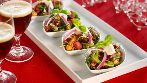 Hvit bønnesalat med pinnekjøtt oppskrift.