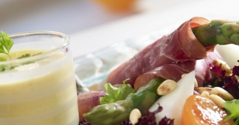 Bilde av Spekeskinke med asparges og melon.