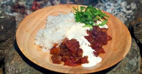 Chili con carne på tur oppskrift.