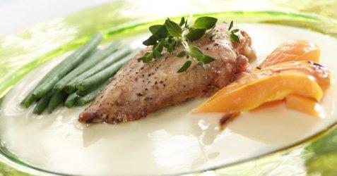 Grillet kylling med paprika og karrisaus oppskrift.
