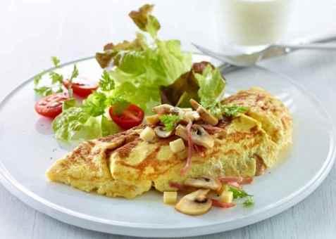 Omelett med ost og sopp oppskrift.