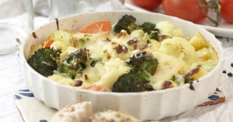 Gratinerte grønnsaker med ostesaus oppskrift.