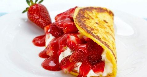Cottage cheese pannekaker med jordbær oppskrift.