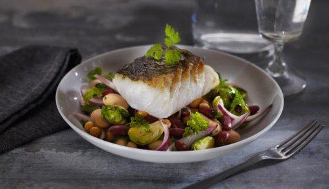 Stekt torsk med bønnesalat oppskrift.