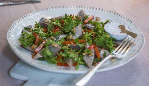 Sitrusmarinert matjessild med salat og grillet paprika oppskrift.