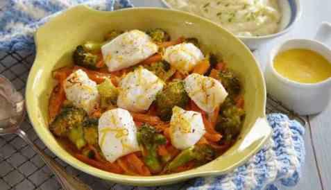Lettsaltet torsk og brokkoli i form oppskrift.