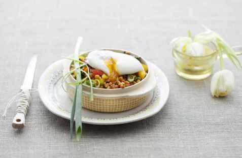 Posjert egg med linser oppskrift.
