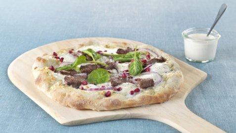 Eltefri pizza med reinsdyrskav, granateple og spinat oppskrift.