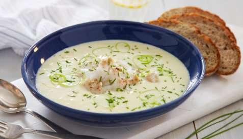 Ovnsbakt torsk med potet- og purresuppe oppskrift.