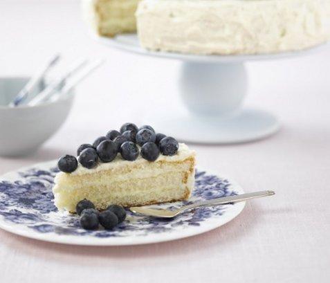 Ostekake med blåbær oppskrift.