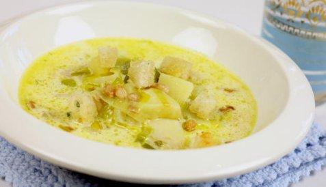 Kremet klippfisksuppe oppskrift.