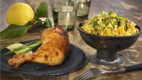 Marinert kyllinglår med couscous oppskrift.