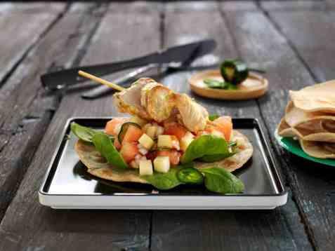 Bilde av Marinert skinkebiff med eple- og melonsalat.