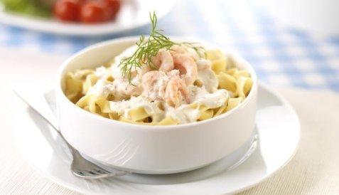 Bilde av Pasta med reker og ostesaus.