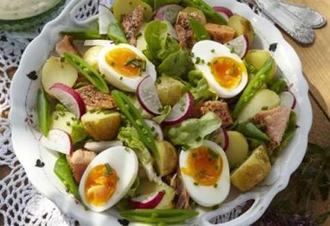 Potetsalat med aspargesbønner og egg oppskrift.