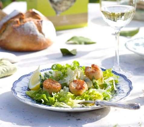 Salat med kamskjell oppskrift.