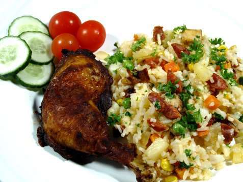 Grillet kylling med rispanne oppskrift.