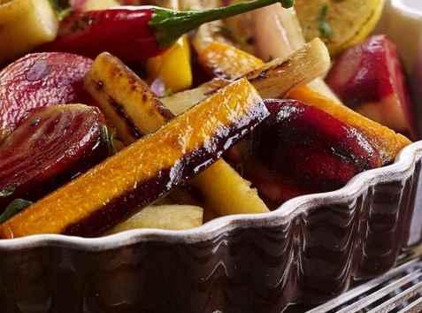 Ovnsbakte rotgrønnsaker med sitron oppskrift.