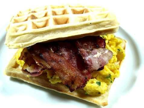 Vafler med bacon og eggerøre oppskrift.