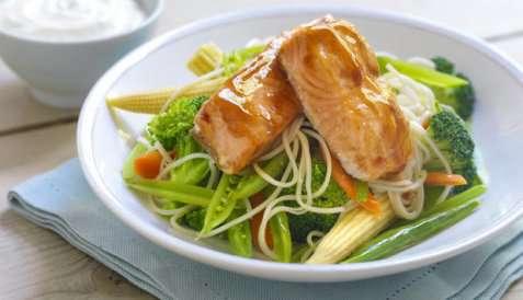 Ovnsbakt laks på grønnsaker og ingefæryoghurt oppskrift.