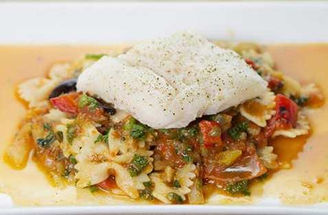 Bakt torsk med pasta oppskrift.