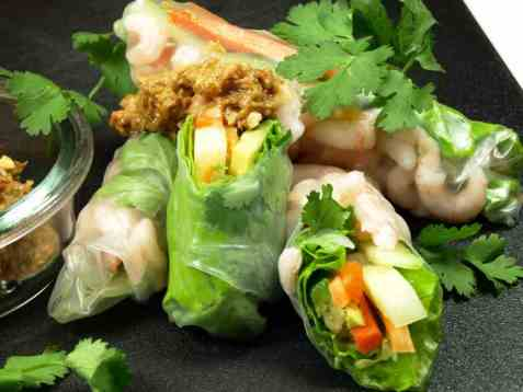 Bilde av Vietnamesiske v�rruller med pean�ttsaus.
