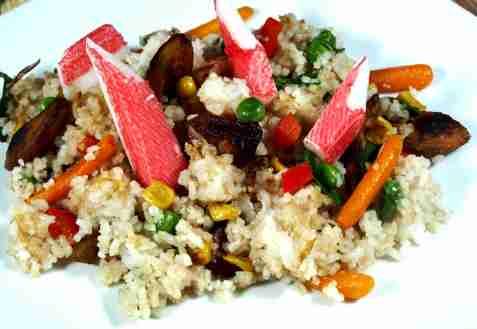 Stekt ris med crabstick oppskrift.
