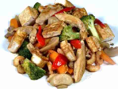 Hvitløk og pepperwok med tofu oppskrift.