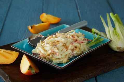 Kremet persimon- og fennikelsalat oppskrift.